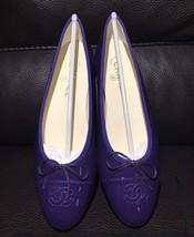 $825 CHANEL CC Classic Bow Violet Purple Patent Leather Ballet Ballerina... - $574.19