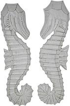 Hand Carved White Wash Wood Set of 2 Seahorses Wall Art Hanging Tropical Nautica - $24.69