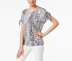 Calvin Klein Womens Split Tie Sleeve Top Black/Multi S 4093-3 - $23.14