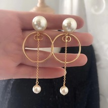 Authentic Christian Dior 2019 Tribales Double Pearl Dangle Drop Long EARRINGS image 3