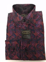Herren Daniel Ellissa Paisley Satin Jacquard Mode Kleid Hemd Navy/Rot FS... - $49.89