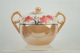 Vintage Retro Japanese Lusterware China Lidded Sugar Pot Floral Tree Motif - $18.96