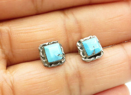 925 Sterling Silver - Vintage Petite Turquoise Square Stud Earrings - E7560 - $18.80