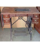 Antique Cast Iron & Wood White Sewing Machine Table ANITQUE PIECE  NEEDS... - $306.89
