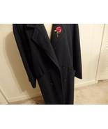 Women Coat 14 16 18 Jacket XL 1X Button Wool Shawl Collar Solid Long Trench Blue - $54.46