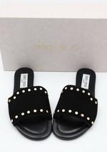8bbe2a2ccea NIB Jimmy Choo Nanda Studded Black Suede Slides Sandals 6 36 - $275.01