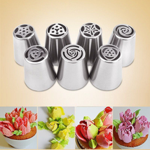 EZLIFE 7PCS Russian Piping Tips Cake Pastry Nozzles Cake Decorating Tool... - $9.53