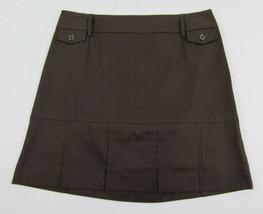 Ann Taylor Loft A-line skirt Cotton short skirt above knee Brown Womens 8 P - $12.82