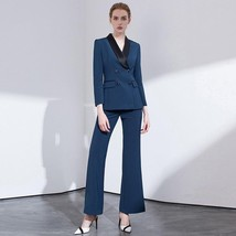 Women's Double Breasted Notched Collar Jacket Blazer & Pants Suit