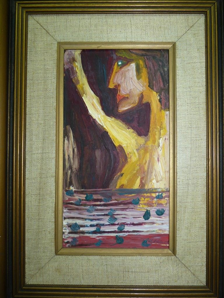 "Vintage Impasto Modernism Oil Painting ""Human Figure ..."