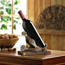 Cowboy Boot Brown Spur Polyresin Countertop Single Wine Bottle Holder - $20.19