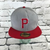 Pittsburg Pirates Mens Sz 7 1/2 Hat Gray Red Fitted New Era Baseball Cap... - ₹1,055.37 INR