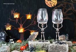 POTTERY BARN SKELETON WINE GLASSES (2) -NIB- NEVER BE BONE-DRY AT HALLOW... - $94.95