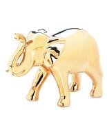 Large GOLDEN ELEPHANT Figure Glossy Ceramic Animal Safari Decor Statue - $24.95