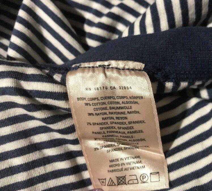 Anthropologie Maeve Blue Ivory Stripe T Shirt Dress Sz MP Button Side Midi Maxi