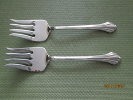 Oneida stainless Bancroft set of 2 cold meat serving forks - $9.65