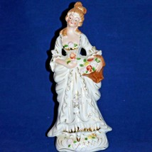 """Colonial Lady Figurine Porcelain White Gold Handpainted Japan 10 3/4"""" - $14.00"""