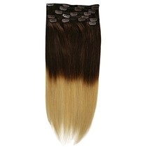 20inch 140g Silky Straight Ombre Clip in Human Hair Extension Two Tone Balayage  image 1