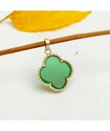 Green Onyx Clover Pendant sterling silver Onyx Necklace Quatrefoil Green... - $32.90