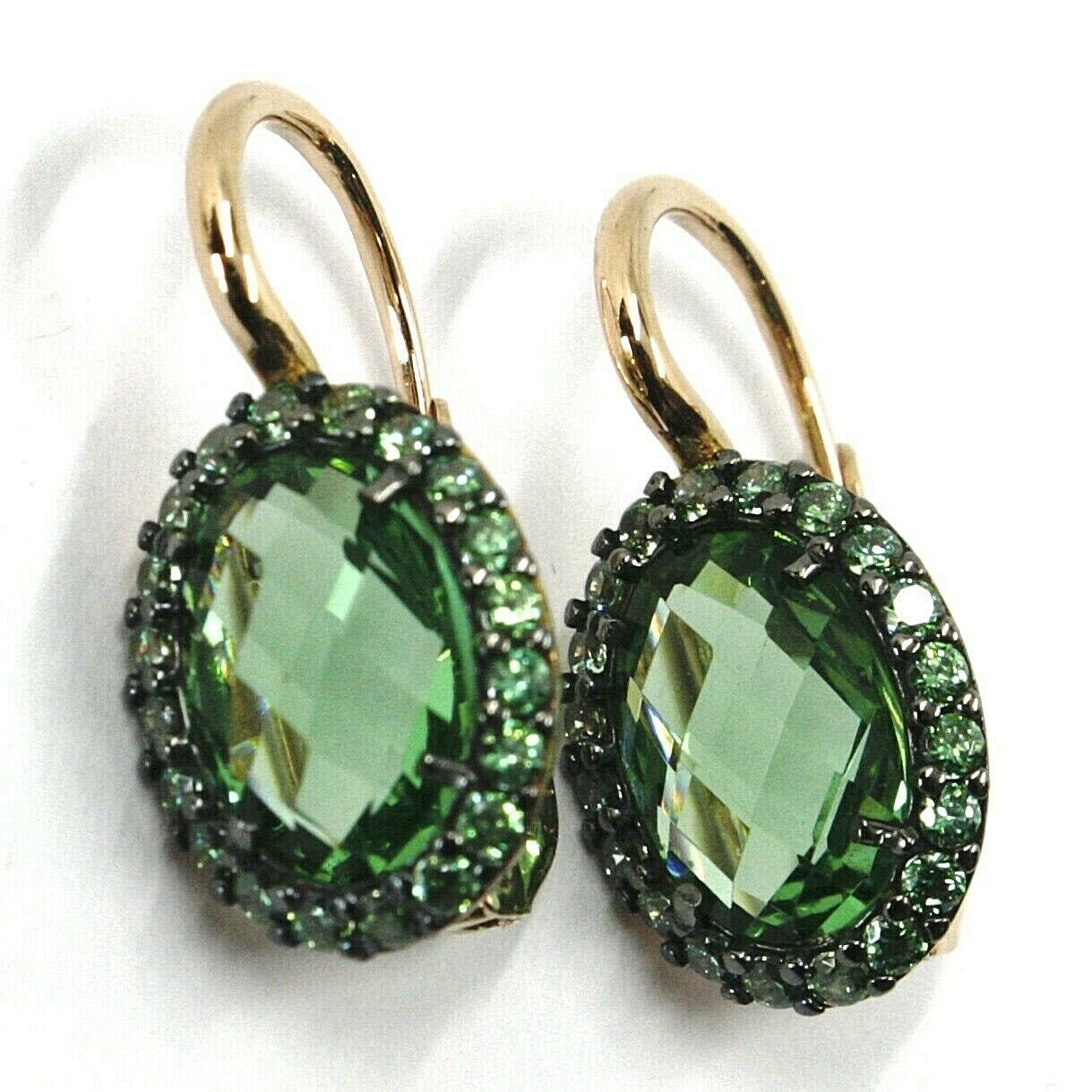 18K ROSE GOLD LEVERBACK FLOWER EARRINGS, OVAL GREEN CUBIC ZIRCONIA WITH FRAME