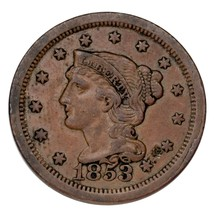 1853 Braided Hair Large Cent 1C Penny (Extra Fine, XF Condition) - $69.29
