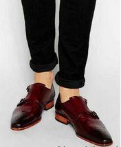 Handmade Men's Burgundy Burnished Brogues Double Monk Strap Dress/Formal Leather image 1