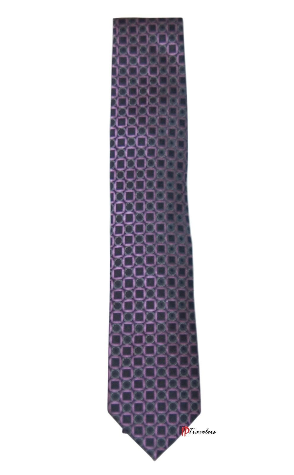 Geoffrey Beene Men's Neck Tie Purple and Black with Circles Square 100% Silk $55