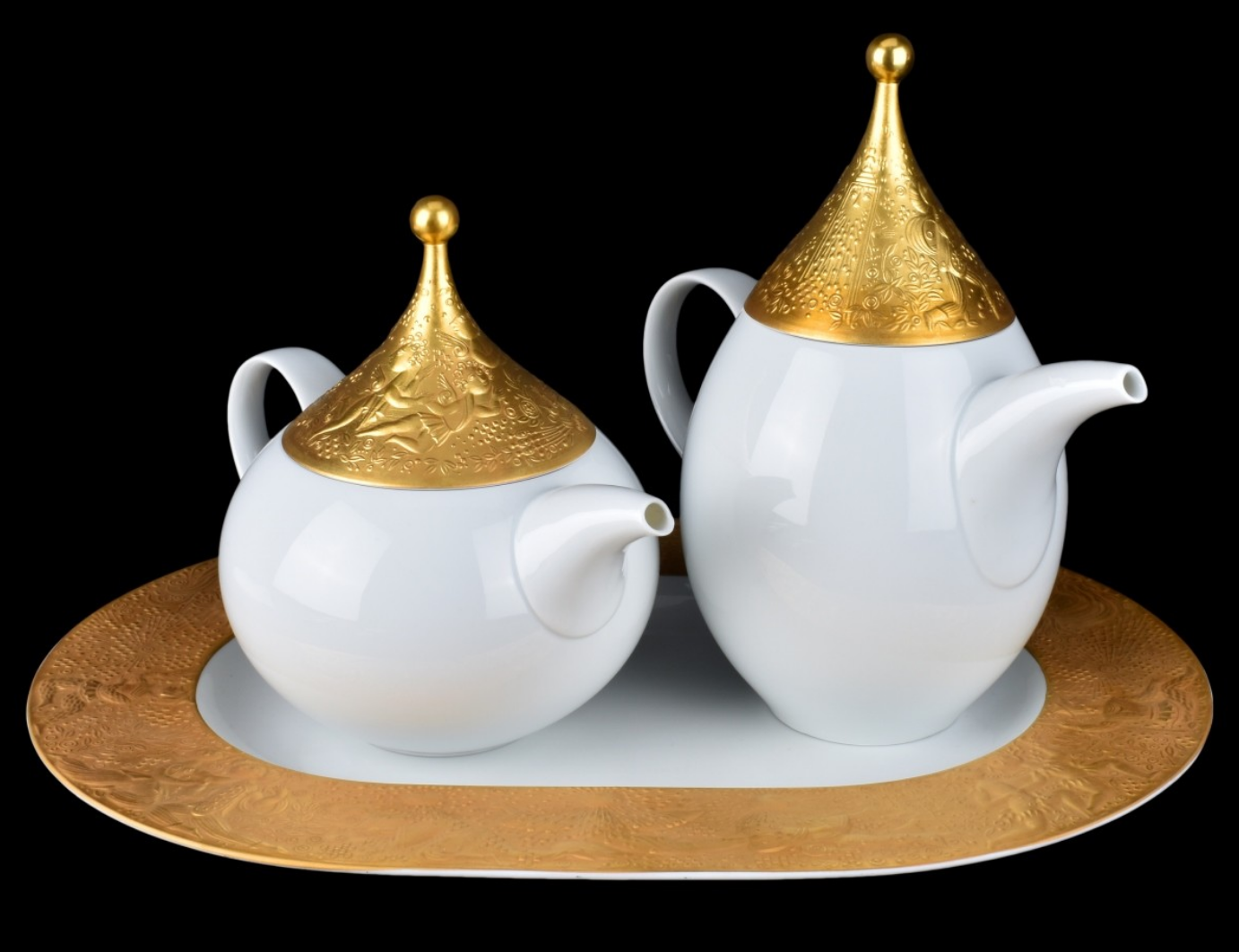 Primary image for Rosenthal  Magic Flute Sarastro Gold Set Coffee Pot Teapot Tray Tableware NEW