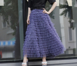 Tiered Tulle Maxi Skirt in Purple Violet Gray Tulle Layered Skirt for Adults  image 7