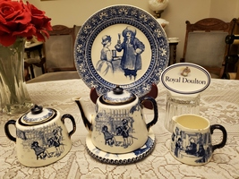 ROYAL DOULTON SERIES WARE D1128 JACOBEAN & D3045 STIRRUP CUP TEA SET COL... - $600.00