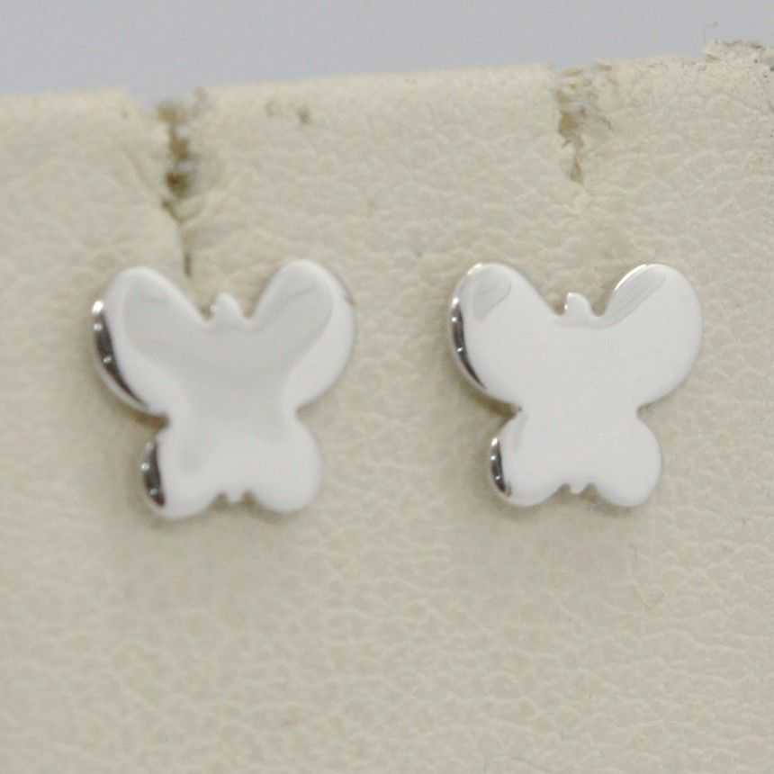 SOLID 18K WHITE GOLD EARRINGS FLAT BUTTERFLY, SHINY, SMOOTH, 8 MM, MADE IN ITALY