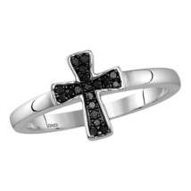 Sterling Silver Round Black Color Enhanced Diamond Flared Cross Ring 1/1... - £42.26 GBP