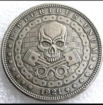 Rare New Hobo Nickel 1921 Morgan Dollar Skull Skeleton Coin Motorcycle C... - $11.99