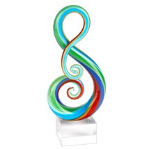 "11"" Multi-Color Art Glass Clef Centerpiece on Crystal Base - $107.00"