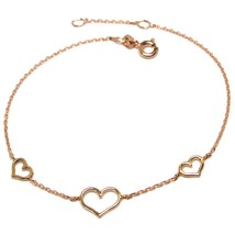 18K ROSE GOLD SQUARE ROLO MINI BRACELET, 7.5 INCHES, 3 HEARTS, MADE IN ITALY image 1