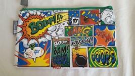 """PIERRE BELVEDERE COMIC ART ZIP PENCIL POUCH SOUND WORDS """"KAPOW"""" 8X5"""" RARE - $4.94"""