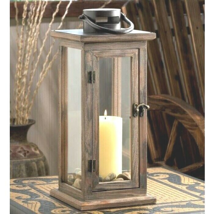 Primary image for 10 Rustic Wood Lantern Large Candleholder Wedding Centerpieces