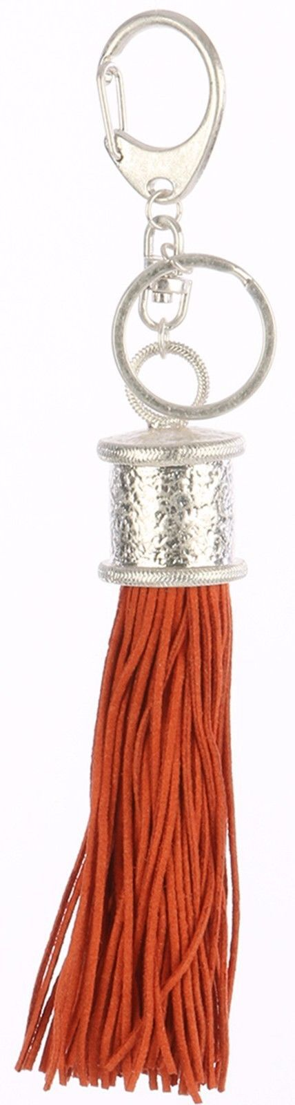 Tassel Key Chain Handbag Charm Accessory Key Fob Claw Hook Silvertone Peach