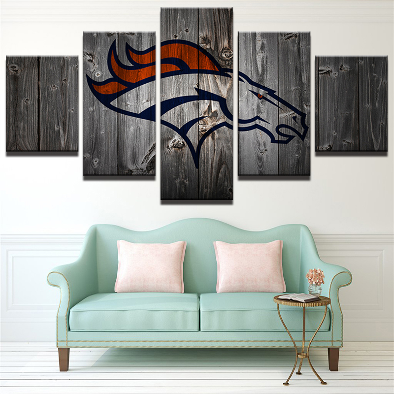 Denver Broncos American Football 5 Piece Canvas Art Wall Art Picture Home Decor