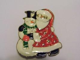 VTG Enamel Holiday Christmas Santa Snowman Brooch Pin Costume Fashion Je... - $10.66