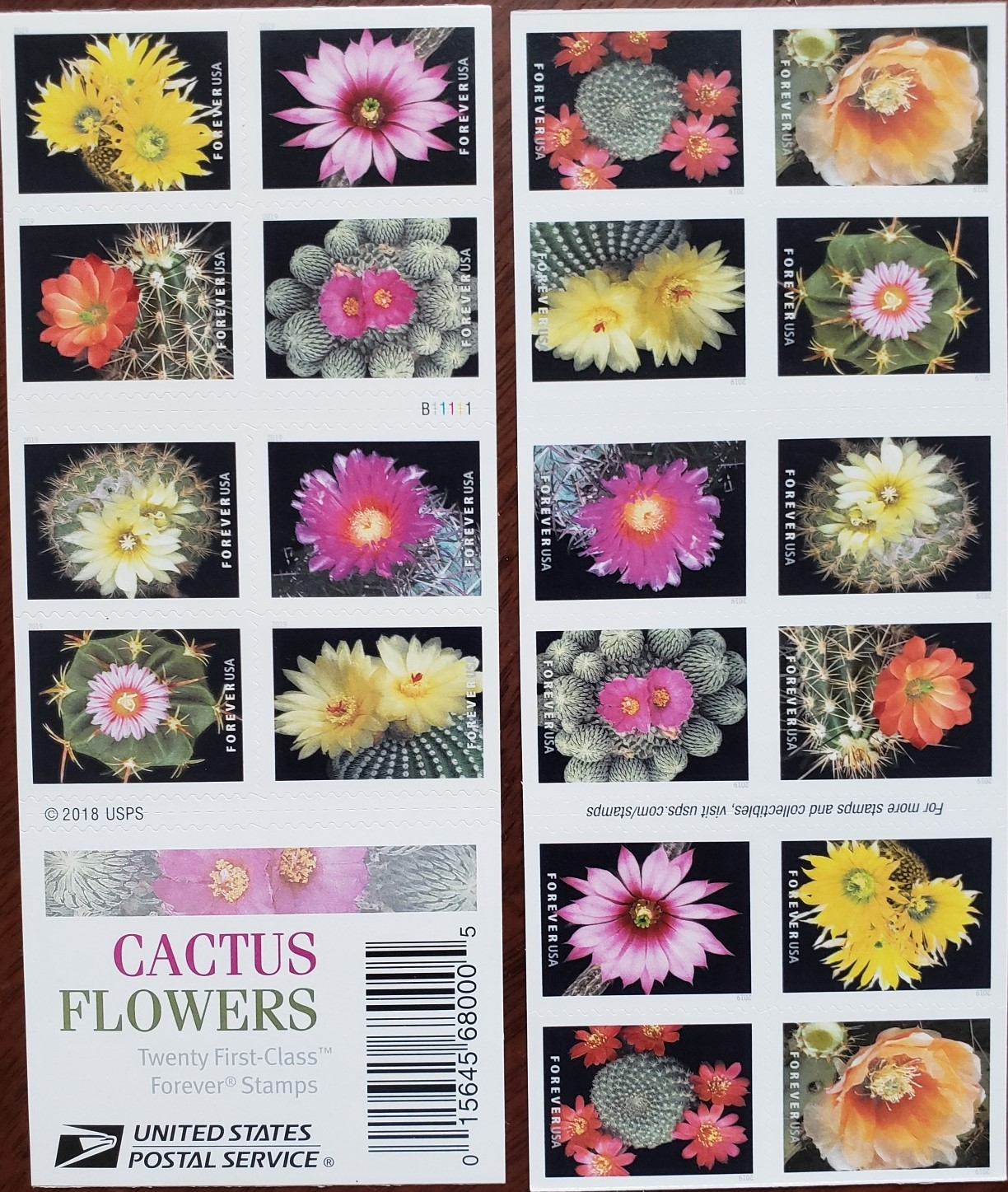 Cactus Flowers- 2018 USPS 20 Forever Stamps Sheet