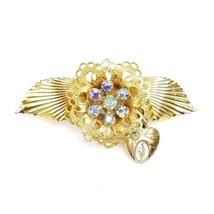 Vintage Goldtone Catholic Miraculous Medal Heart Flower Blue Rhinestone ... - $14.54