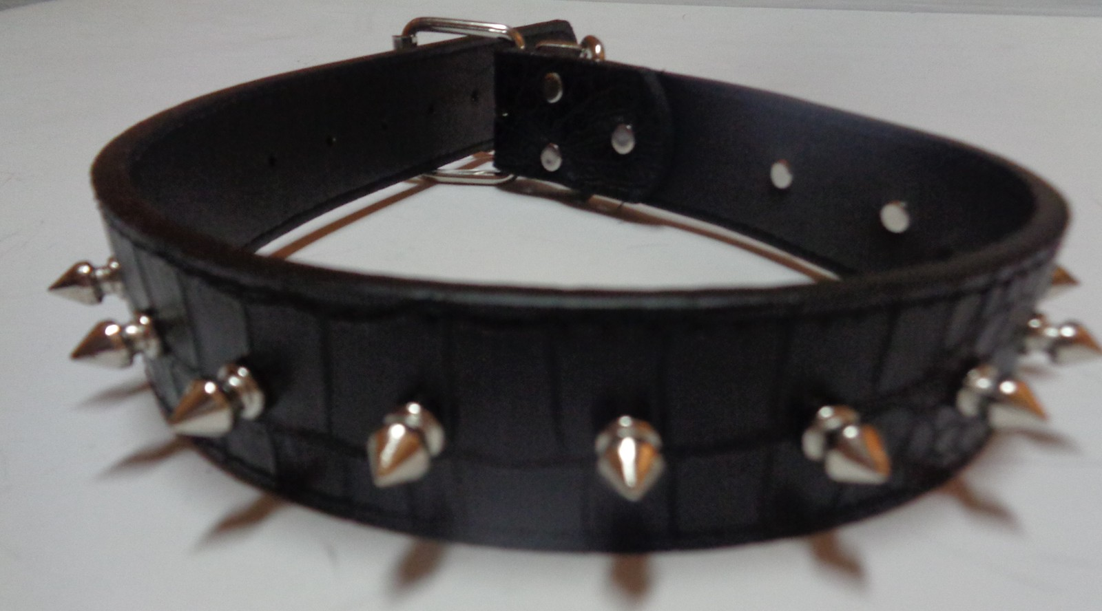 "Dog Collar Large Breed Spike NWT Adjustable Black 24""L x 1.5""W"