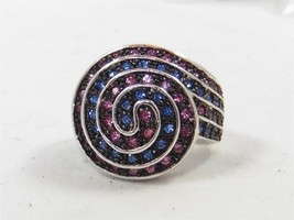 Signed Suzanna Somers Marked Silver 925 Pink Rose And Light Blue Swirl R... - $14.01