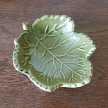 WORLD MARKET Green Leaf With Veins Candy Dip Trinket Dish Ceramic Small ... - $7.87