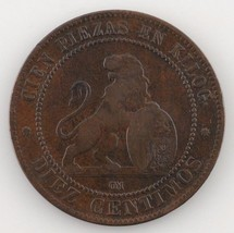1870 Spain Provisional Government 10 Centimos Very Fine Condition KM #663 - $35.64