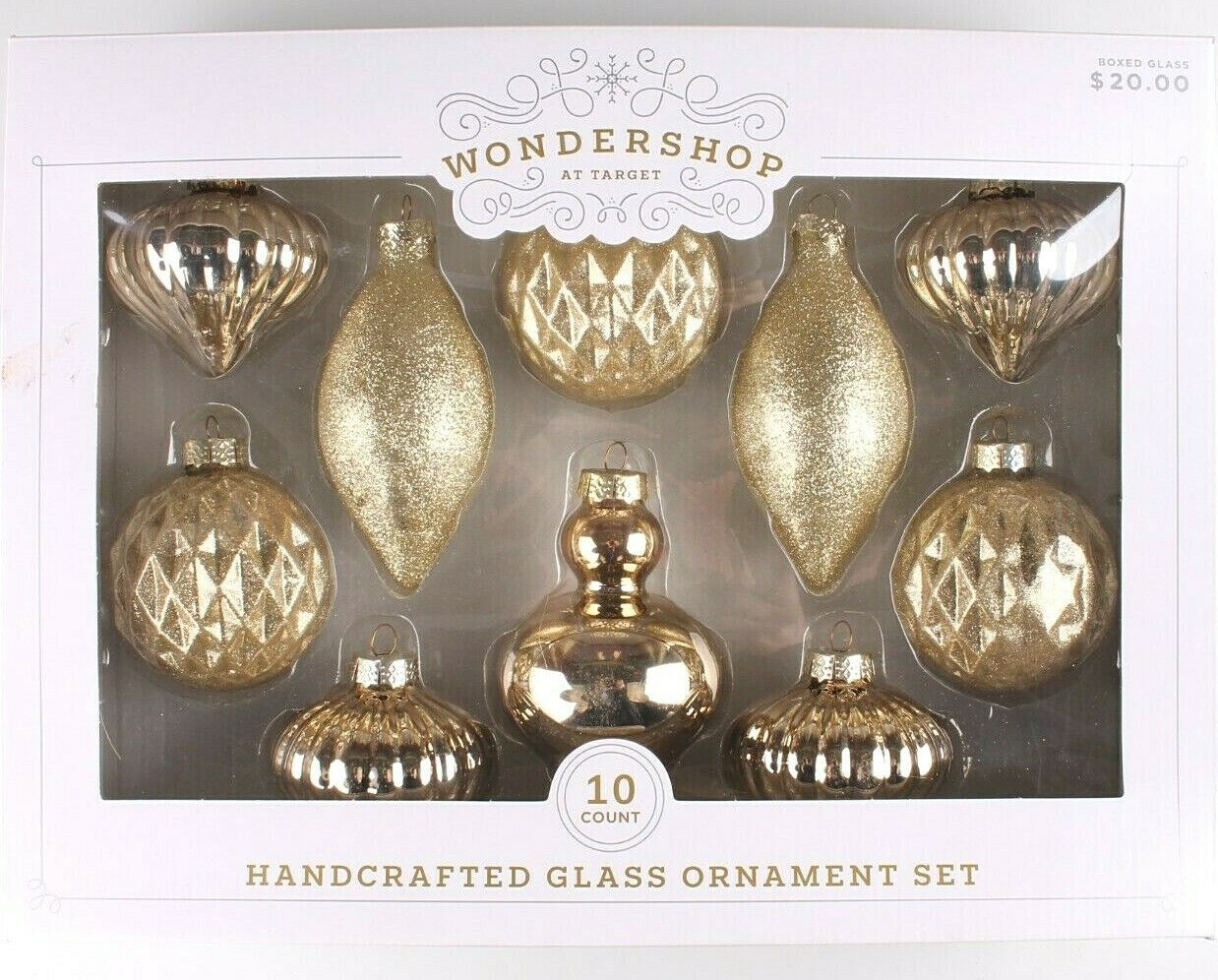 Wondershop 10 Piece Handcrafted Gold Glass Christmas Tree Ornaments Set NEW BOX