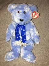 "Ty Beanie Buddy 1999 HOLIDAY TEDDY Blue w/ White Snowflakes Scarf 13"" NW... - $11.87"