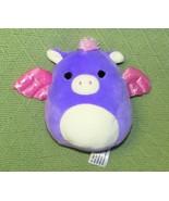 "SQUISHMALLOWS PURPLE PIG PEGASUS 6"" PINK WINGS ANGEL PLUSH STUFFED ANIMA... - $13.61"