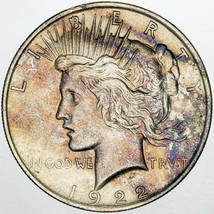 1922-P PEACE SILVER DOLLAR NATURALLY COLOR TONED UNC BU GORGEOUS CHOICE ... - $197.99